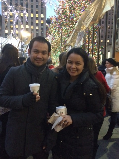 With Warren by the Christmas Tree at the Rockefeller Center, New York